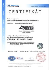 Certifikát ČSN EN ISO 14001-2016