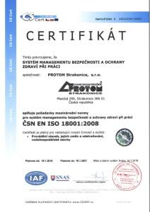 Certifikát ČSN EN ISO 18001-2008
