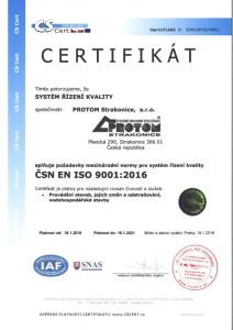 Certifikát ČSN EN ISO 9001-2016